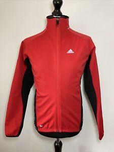 Adidas Climawarm Fleece Lined Red Black Bike Cycle Cycling Jacket Medium VGC