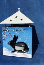Vintage RABBIT IN WINTER PIP BERRY SHADE LAMP Candle Tealight Fits Yankee 7/4❤️