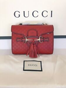 NEW 100% Authentic GUCCI Red Microguccissima Leather Mini Emily Crossbody Bag