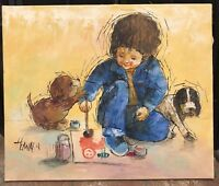 Vintage Painting of a Boy Painting With His Two Dogs signed Howard Certified