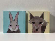 Bunny & Fox 6x6 Canvases For Baby Room Or Nursery Decor