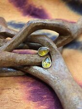 Earrings in silver plated brass, with semi precious stone Amber