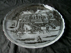 Libbey Clear Glass Sleigh Ride Christmas Serving / Tort / Pastry Plate / Platter