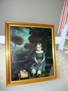 LARGE FRAMED AMERICAN FOLK ART  PRINT  PORTRAIT LITTLE GIRL