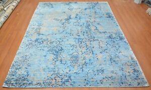 9'x12' Rug Modern Luxury Indo Tibetan Bamboo Silk Grey-Blue Area rug