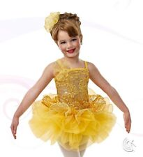 Curtain Call Friends Forever Yellow Dance Costume Child XS Ballet 2-in-1 New