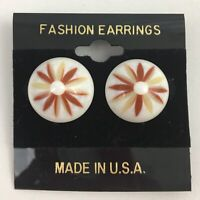 Vintage Small Chunky Daisy Plastic Round Earrings Pierced NOS
