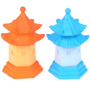 2Pcs DIY Miniature pagoda fairy garden ornament craft dollhouse accessori TDU MO