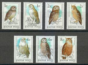 Hungary 1984 MNH Mi 3725A-3731A Sc 2887-2893 Birds / Owls **