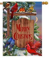 Selmad Merry Christmas 28 x 40 Cardinal House Flag Winter Red Bird Double Sided,