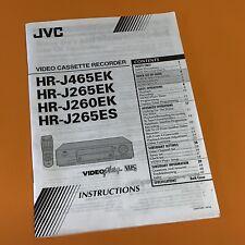 JVC HR-J465EK HR-J265EK HR-J260EK HR-J265ES Printed Instruction Manual 912A