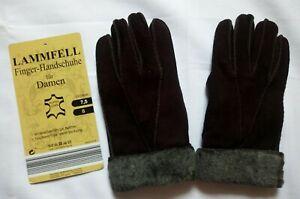 Gebra Bochum Damen Lammfell Finger-Handschuhe Gr.7,5 braun hochwertig NEU