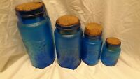 Crownford China Co Blue Glass Jar Set (4) with Corks, Shield and Eagle 812