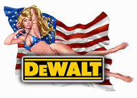 "DEWALT TOOLS  STICKER DECAL 3"" X 4"" GLOSSY LABEL TOOL BOX SEXY USA PINUP GIRL"