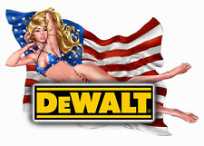 DEWALT TOOLS USA FLAG STICKER GLOSSY DECALS TOOL BOX SEXY GIRLS MADE IN USA
