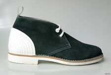 new $725 men's JIMMY CHOO Douglas green suede white leather boots shoes 43 US 10