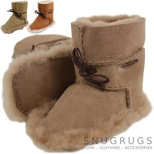 Childrens / Kids / Baby Sheepskin Boots / Booties with Lace Up Details