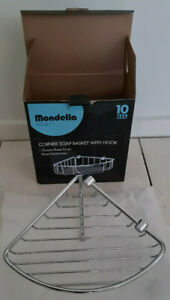 MONDELLA CORNER SOAP BASKET WITH HOOK CHROME PLATED BRASS CONSTRUCTION NEW BOXED