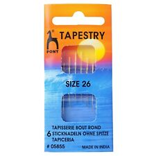 PONY SIZE 26 TAPESTRY- HAND SEWING NEEDLES GOLD EYE -BLUNT TIP - PACK OF 6 BNEW