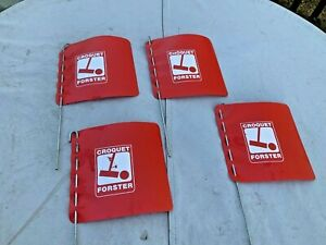 4 Vtg Forster Croquet Set Original Red Flag Boundary Markers Replacement Part