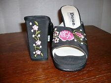 DUNE EMBROIDERED PLATFORM MULES SANDALS SHOES UK size 4 EUR size 37 BNEW
