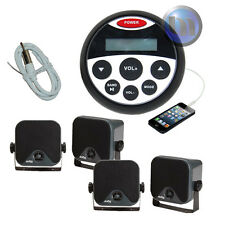 Marine Bluetooth Radio Stereo Kit MP3/USB/FM/AUX/Ipod Radio+ 4 Speakers + Ant