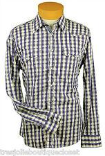 No Excess Men's Two Pocket Plaid Long Sleeve Shirt, Indigo (Small)