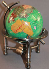 Multi-Gemstone 90mm Desktop Globe in Green Pearl - Pewter Tone Base Free S&H