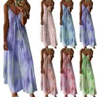 Plus Womens Boho Strappy Tie-Dye Maxi Dress Summer Beach Holiday Casual Sundress