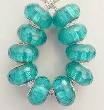 10 Acrylic Teal / Aqua Sparkle Faceted Beads European 9 * 14 mm & 5 mm Hole B036