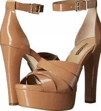 bc8064c202d3 BCBGeneration Women s Brown Strappy Sandal Patent Leather Platform Heel  Size 10M