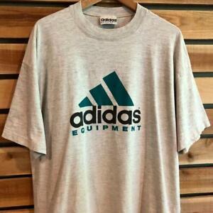USA Made VTG 90s Gray Adidas Equipment Big Logo Spellout S/S T Shirt Soccer XL