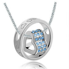 Fashion Jewelry Women Heart Crystal Charm Pendant Chain Necklace Silver SD10