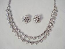 Vintage Jo-Le Heart Shaped Rhinestone 2 Strand Necklace Clip Earring Set Silver