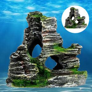 Aquarium Ornament Rockery Hiding Mountain Cave Fish Tank Decor Resin Home DIY