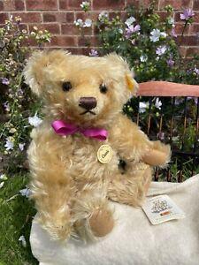 "💕 13"" Steiff Classic Teddy Bear 004353 w/ label, flag, button & growler."