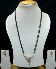 Ruby Wedding Mangalsutra AD Necklace Earrings Black Beads Chain Jewellery SSC152