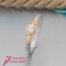 klassischer Solitär-Ring mit 1 Brillant(Diamant) ca. 0,20ct -950 Platin/Gelbgold