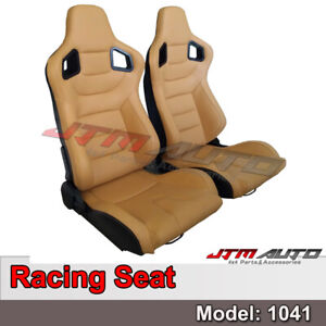 BN PAIR PU Leather BEIGE RACING SPORT SEATS