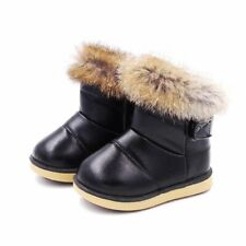 Winter Child Girls Snow Boots Shoes Warm Plush Soft Bottom Leather Boot For Baby