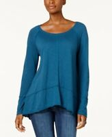 NEW Style & Co Petites Seamed High Low Hem Top Rich Teal Size PS or PM (S9)