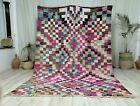 "Moroccan Handmade Rug 6'2""x9' Geometric Checkered Pastel Colors Boujad Wool Rug"