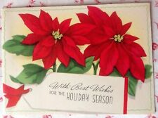 Vintage 1940s Christmas Greeting Card Red Poinsettias Washington Irving Quote