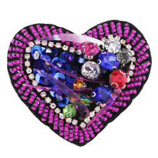 Rhinestones Heart Embroidery Applique Patch For Coat Cloth Accessory Sweater