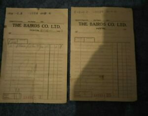 RARE! 2 X 1933 FORMER BAIRDS DEPARTMENT STORE PERTH WA HAND WRITTEN RECEIPTS!