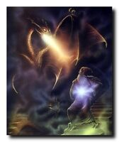 Magical Dragon Wizard Fire Fantasy Wall Decor Art Print Poster (16x20)