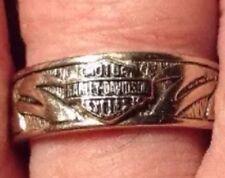"Ladies Harley Davidson Motorcyle 10k White Gold Ring ¼"" Wide Size 7"