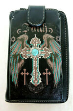 FAITH with Wings and Cross Black Cell Phone Wallet/Crossbody Montana West