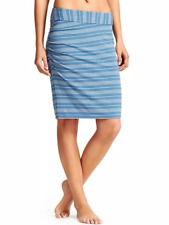 NEW ATHLETA WOMEN'S HEATHER BLUE GRAY STRIPE AZALEA SKIRT Sz M