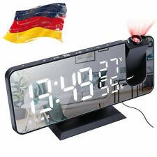 LED Funk Radiowecker mit Projektion Digital Dimmbar Tischuhr Alarm USB FM